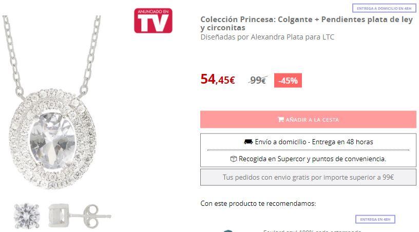 Conjunto de collar y pendientes Colección Princesa