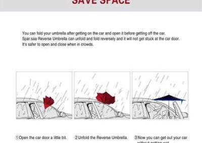 Paraguas inverso en el coche