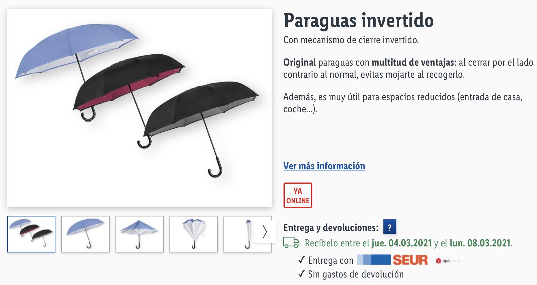 Paraguas invertidos Lidl